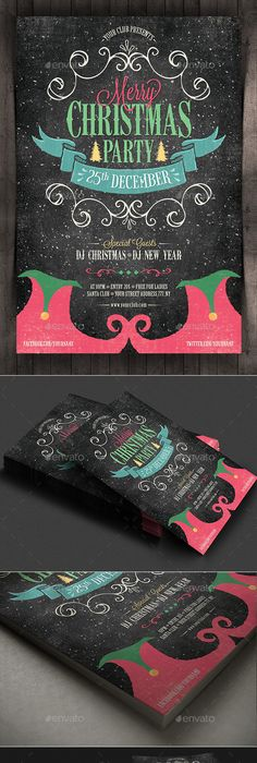 Christmas Party Flyer And Invitation Print Templates  Graphic