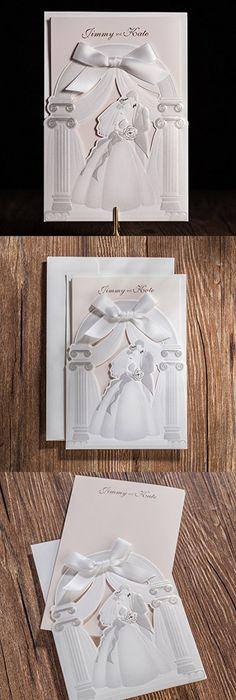 Wishmade 50x gold laser cut square wedding invitation cards kits wishmade 50x laser cut trifold embossed wedding invitations cards kits with bride and groom patterns bridal stopboris Choice Image