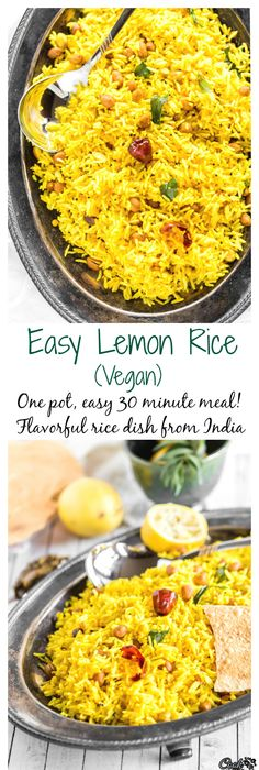 Easy lemon rice recipe rice recipes and healthy recipes easy one pot meal that can be prepared in 15 minutes this lemon rice is easy delicious full of flavors and vegan forumfinder Gallery