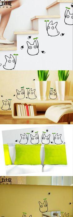 Cartoon Totoro Wall stickers Cute bedroom Living room Baby House ...