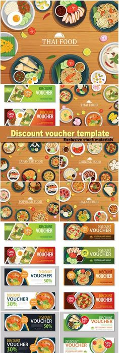 Vectors  Food Voucher Templates  Template Food And Business Cards