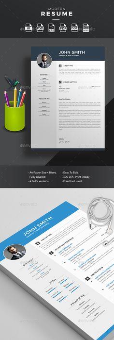 Resume Pinterest design, Template and Cv template