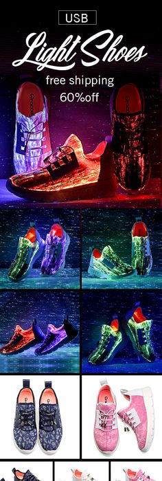 Women's Light Shoes Large Size Adjustable USB Charging Colorful LED Running  Shoes