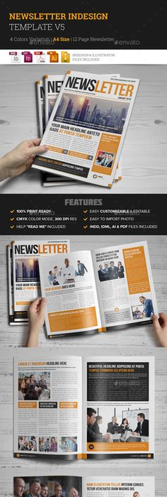 12 Pages Corporate Newsletter Newsletter templates, Template and
