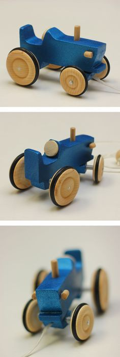 Blue Tractor made in wood. Wood toy. Wood vehicule. Jouet en bois. & Giant wood toy tractor | Number plates Tractor and Toy