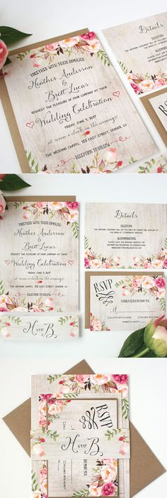 I like the flowers in these! But I would want some burgundy flowers - fresh wedding invitation card create