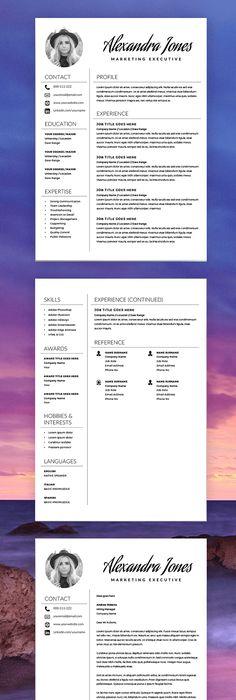 Feminine Resume - CV design - Resume Download - MS Word Resume for