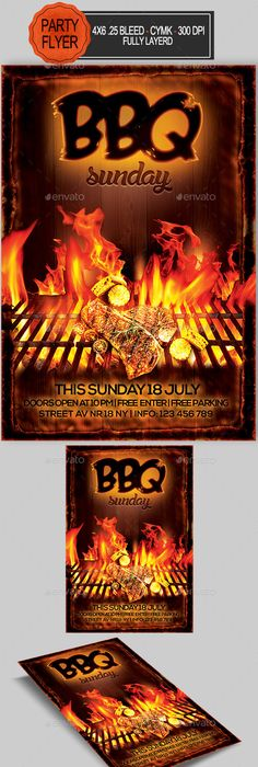 BBQ Summer Party Flyer Template Party flyer, Flyer template and