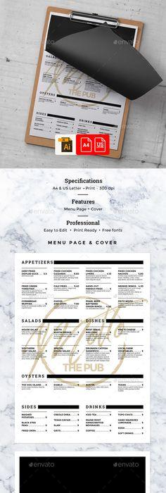 Seafood menu placemat food restaurant brochure, template design ...
