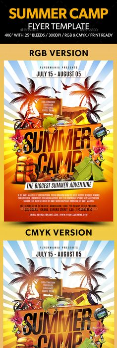 Adventure Summer Camp Flyer Template  Flyer Template Template And