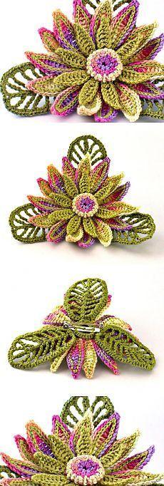 Crochet Lotus Flower Free Pattern [Video] - Crochet 3D Flower Motif ...