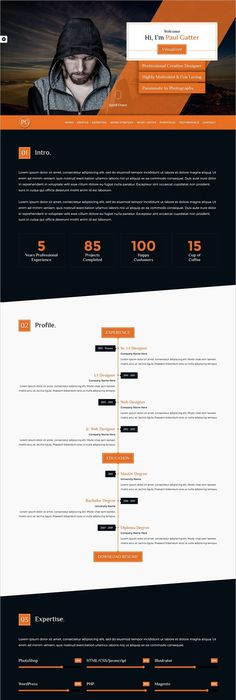 Partex  One Page Resume Cv  Personal Portfolio Psd Template