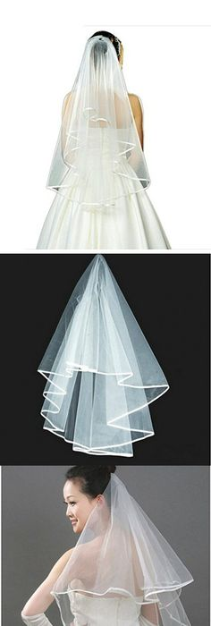 Short Wedding Veil Sequin Pearl Edge Crystals Beaded Bling Wedding ...