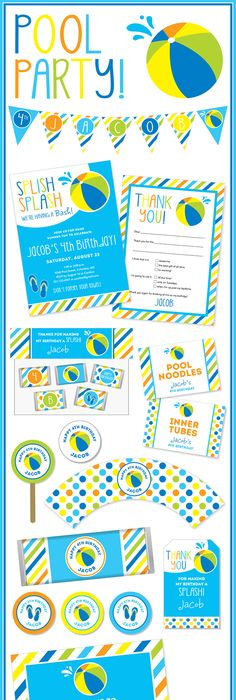A Cute Free Printable Pool Party Invitation By Janna Wilson Via