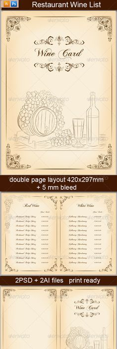 Wine Card Menu  Menu Restaurant Print Templates And Font Logo