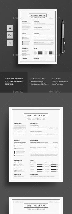 Resume \u2014 Photoshop PSD #creative resume/cv #professional resume/cv