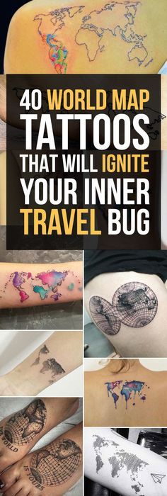 35 best world map tattoo ideas for travel lovers map tattoos 40 world map tattoos that will ignite your inner travel bug gumiabroncs Images