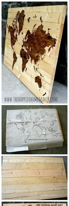 16 adorable diy wall painting ways for refreshing your home decor diy wooden world map art hang on wall then stick straight pins in where gumiabroncs Images