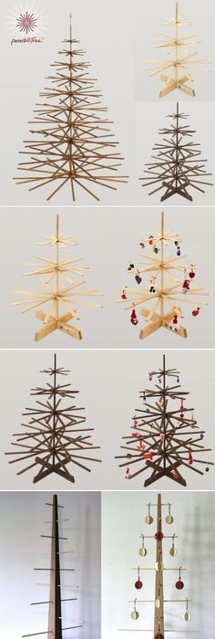A Great Selection Of Wood Christmas Trees As An Alternative To A Living Tree.  Modern