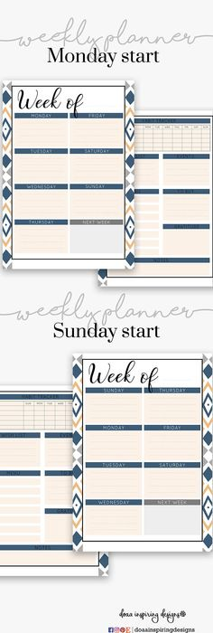 A Weekly Printable Planner In Pink Color Week On One Page