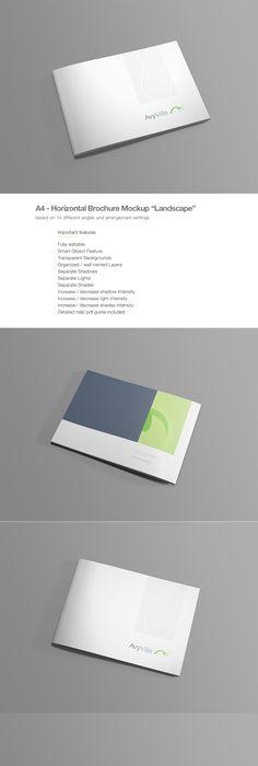Free A Landscape Brochure Mockups  Horizontal Brochure Psd