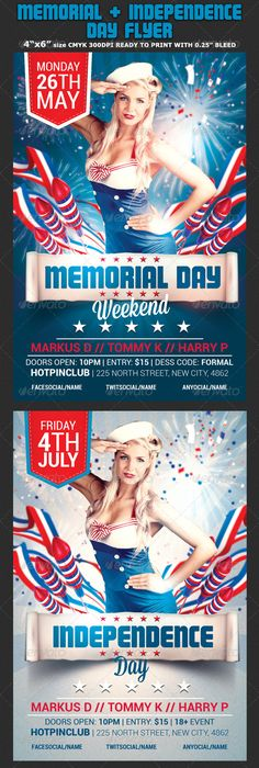 Memorial  Independence Day Flyer Template  Print Templates