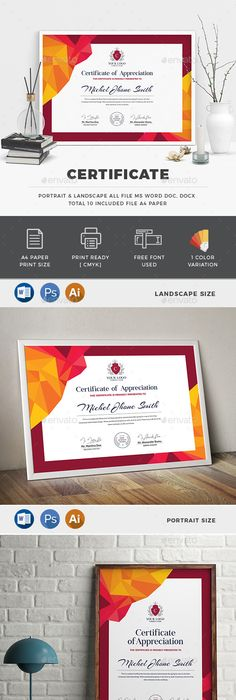 Certificate certificate certificate design and template buy certificate by generousart on graphicriver features of certificate template 2 color versions paper size with bleeds quick and easy to customize yelopaper Choice Image