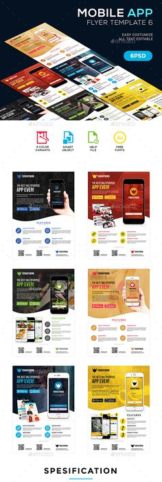 Mobile App Flyer Template  Psd Templates Flyer Template And