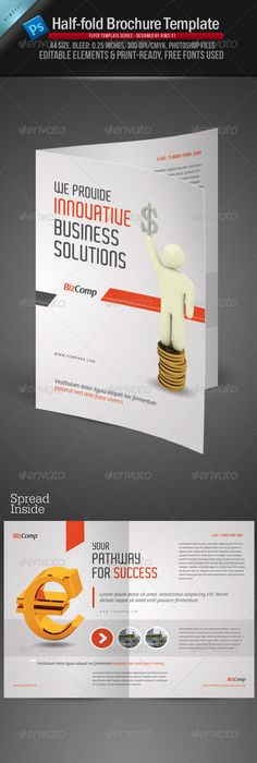 Attractive Half-fold Brochure Template Design Stock Vector