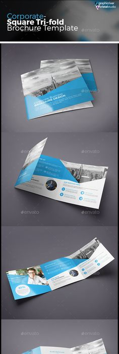 Clean  Modern Square TriFold Brochure Template Design