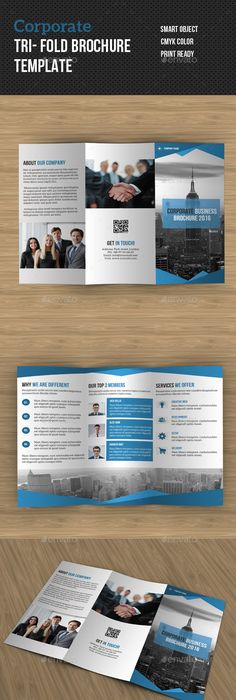 Free Modern Blue TriFold Brochure Template Psd  Tri Fold
