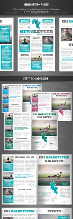 4-Pages Newsletter Template | Newsletter templates, Template and ...