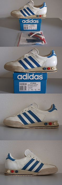 Mens Vintage Shoes 163628: Rare 70S 1980S Vintage Adidas Vienna Leather  Shoes White Red Sneakers Size 8 ->