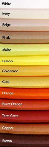 Colour Charts Linen Colors White Ivory Beige Khaki Maize Lemon Color Chartlecloth Alburnt Orangeterra