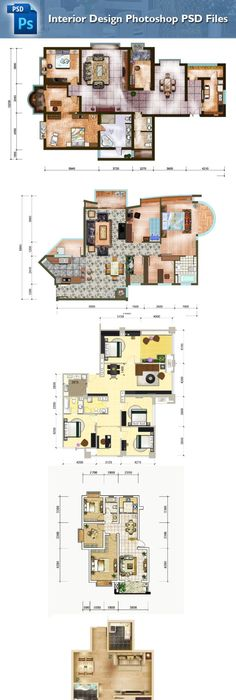15 Types Of Interior Design Layouts Photoshop PSD Template V.1 U2013  Architectural CAD Drawings