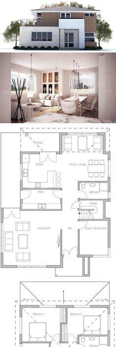 plan de petite maison u2026 Pinteresu2026 - plan de maison 100m2