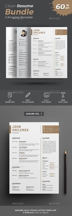 Resume Template, Cv template and Ai illustrator - different resume templates