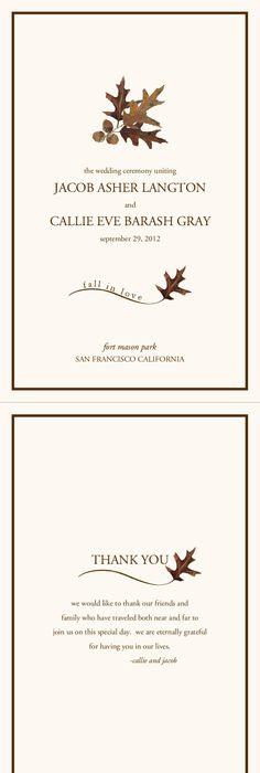 Fall Wedding Menu CardsAutumn Theme Wedding Menu CardsFall