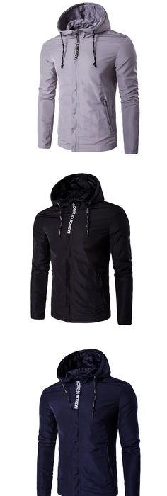 Men's Sports Active Cotton Slim Jacket-Solid Colored,Embroidered Hooded