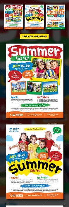 Summer Camp Flyer  Boys Camp Promotion And Brochures