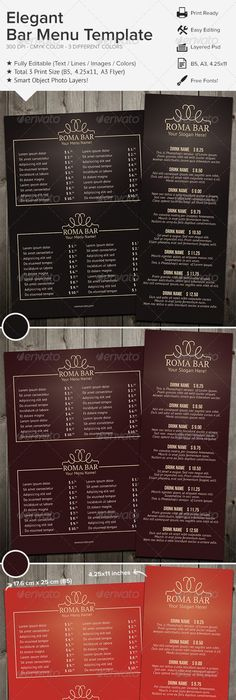 Classic Food Menu Food menu, Print templates and Template - bar menu template