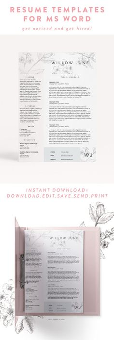 Resume Template Feminine Design Creative Resume Template Word
