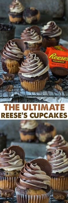 peanut butter cupcakes with reese\'s cup inside
