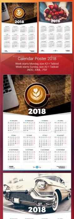 Calendar Poster 2017 Indesign Templates Template And Print Templates