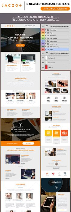 Flat Newsletter | Newsletter templates, Template and Infographic ...