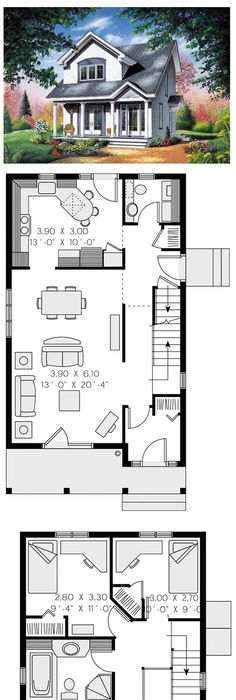 Contemporary house plan 65286 total living area 1310 sq ft 3 bedrooms