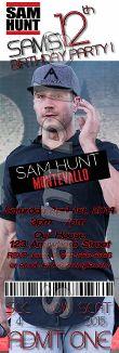 Sam hunt vip passes with lanyards sam hunt birthday invitations sam hunt ticket style invitations with envelopes m4hsunfo