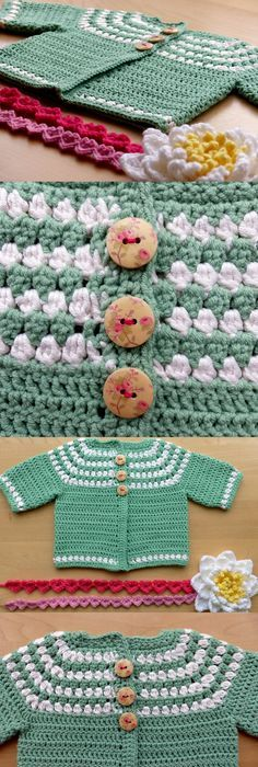 Free Pattern: Baby In Bloom Sweater | Crochet baby, Free crochet and ...