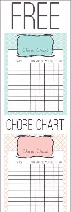Free Printable  Chore Chart For Kids  Free Printable Chore