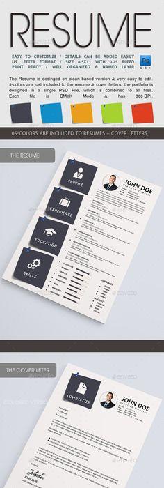 Resume \u2014 PSD Template #blue resume #clean cv \u2022 Download ➝   - resume download